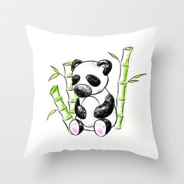 Digital Charcoal Panda (without glimmer) Throw Pillow