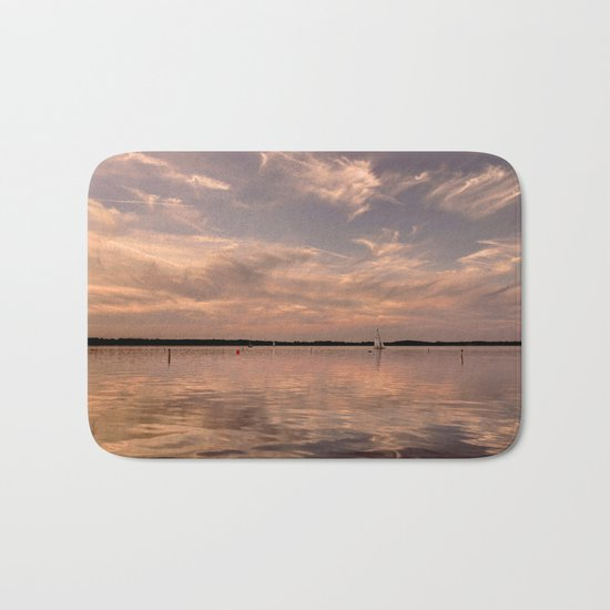 Evening at a lake- Pink Sundown with Clouds on the Water on #Society6 Bath Mat