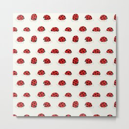 Ladybug rush - Patten Metal Print