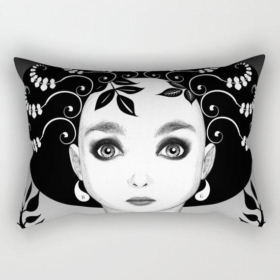 Black and white floral portrait Rectangular Pillow