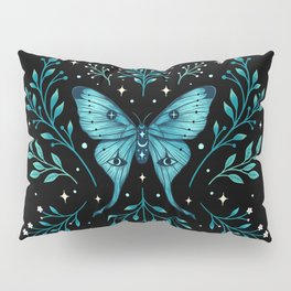 Mystical Luna Moth - Turquoise Pillow Sham
