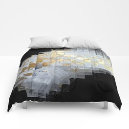 Squares in Gold and Silver Comforters