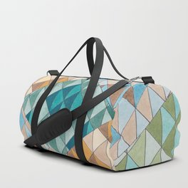 Triangle Patter No.15 Shifting Teal and Yellow Duffle Bag