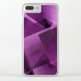 Royal Fuchsia Shapes - Digital Geometric Texture Clear iPhone Case