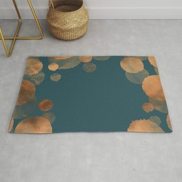 Metal Copper Dots on Emerald Rug