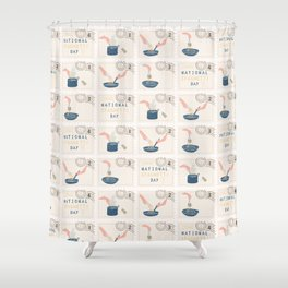 National Spaghetti Day Postage Stamps Shower Curtain