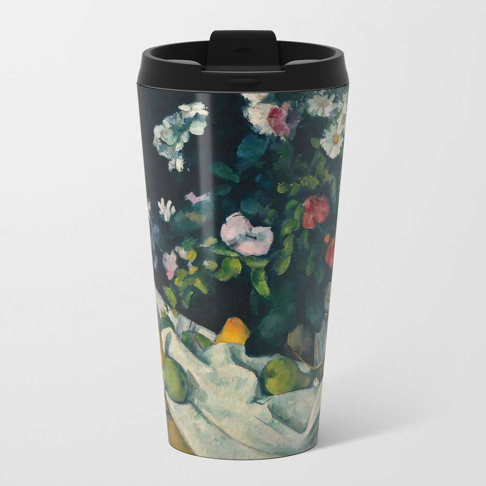 """Paul Cezanne """"""""still Life With Flowers And Fruit"""""""" Metal Travel Mug by Alexandra_arts"""" MTM8944765"""