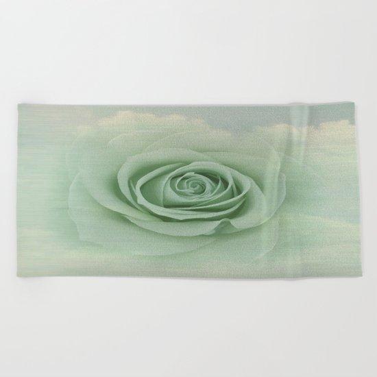 Dreamy Vintage Floating Rose Beach Towel