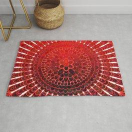 Red Flower Mandala Rug