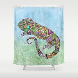 Electric Iguana Shower Curtain
