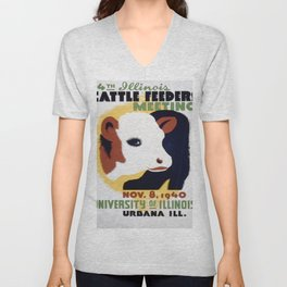 Vintage poster - 14th Illinois Cattle Feeders Meeting Unisex V-Neck