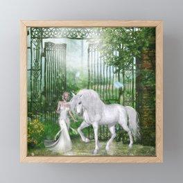 Wonderful fairy with unicorn Framed Mini Art Print