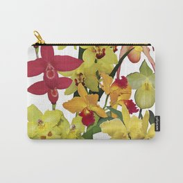 Orchids - Hot Colors! On white Carry-All Pouch