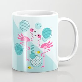 1980's Memphis Style Pink Flamingos Coffee Mug