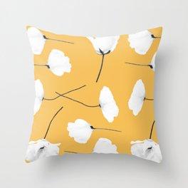 Poppies on mustard Throw Pillow