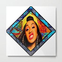 Cardi Afro Style Metal Print
