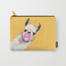 Bubble Gum Sneaky Llama in Yellow Carry-All Pouch