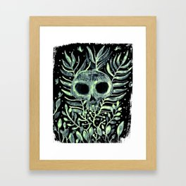 skull in leaves Framed Art Print