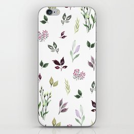 Tiny watercolor leaves iPhone Skin