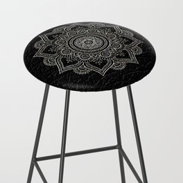 N43 - Moroccan Pure Leather with Silver Moroccan Mandala Artwork by ARTERESTING Bar Stool