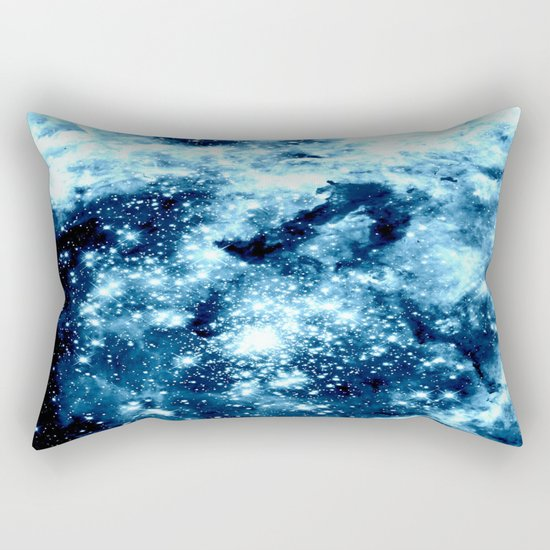 Ice Blue Galaxy Star Clusters Rectangular Pillow