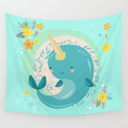 Pretty Princess Narwhal Wall Tapestry