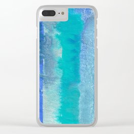 Blue Original Watercolor Stripes Painting Clear iPhone Case