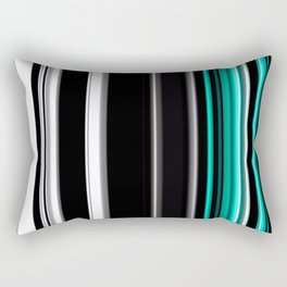 Teal black and white stripes Rectangular Pillow