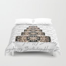 Black and Rose Gold Mandala Birthday Cake and Candles Duvet Cover