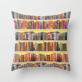 Christmas books antique vintage library Throw Pillow