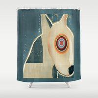 bull terrier Shower Curtains featuring bull terrier days by bri.buckley