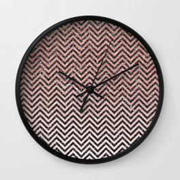 Chic modern black pink faux glitter chevron pattern Wall Clock