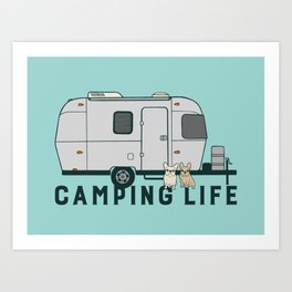 Happy camping life with cute Frenchies Art Print