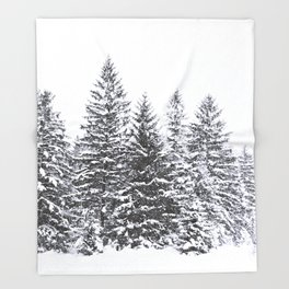 BLACK WINTER TREES Throw Blanket