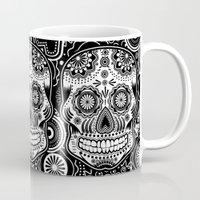 sugar skull Mugs featuring sugar skull by Ancello