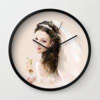 princess bride Wall Clocks featuring bride by tatiana-teni