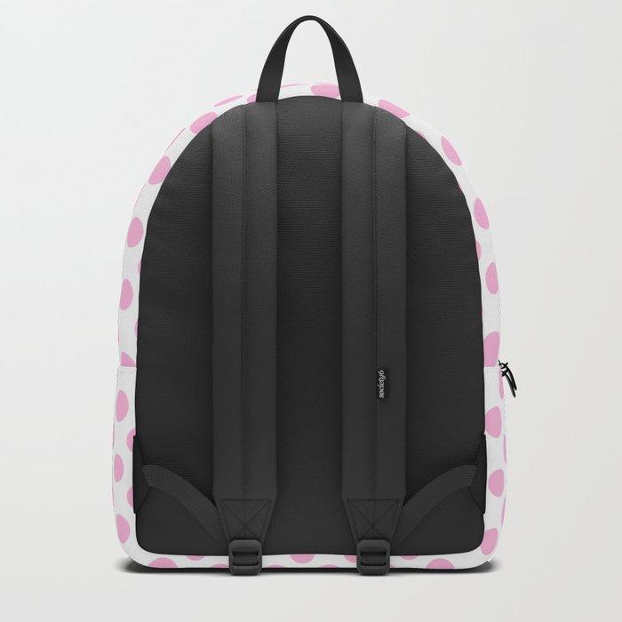 Pink polkadots on white pattern Backpack