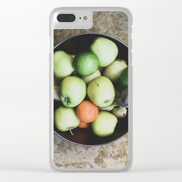 Top view of a bowl of fruit Clear iPhone Case