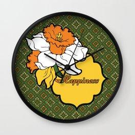 Qua-trefoil Daffodils Wall Clock