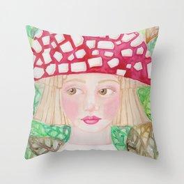 Mushie Girl Throw Pillow