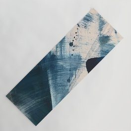 Against the Current [2]: A bold, minimal abstract acrylic piece in blue, white and gold Yoga Mat