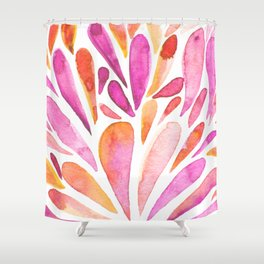 Watercolor artistic drops - pink and orange Shower Curtain