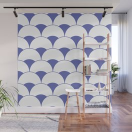 Art Deco Scales Blue Wall Mural