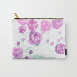 violet watercolor roses Carry-All Pouch