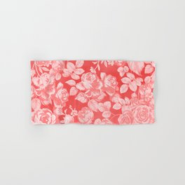 Living coral pink watercolor country chic floral Hand & Bath Towel