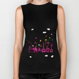 colorful circus carnival traveling in one row on white background Biker Tank