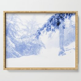 Icy forest in inky blue Serving Tray