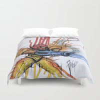 metroid Duvet Covers featuring Metroid Samus Ink by chris panila