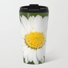 Closeup of a Beautiful Yellow and Wild White Daisy flower Travel Mug