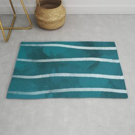 Blue with White Stripes Rug